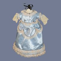 Sweet Vintage Satin Doll Dress Fancy Lace Trim & Beads
