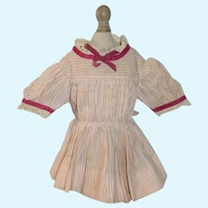 Old Cotton Pink and White Stripe Short Sleeved Doll Dress