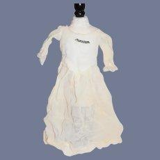 Sweet Old White Doll Dress W/ Enamel Bar Pin Petite Doll