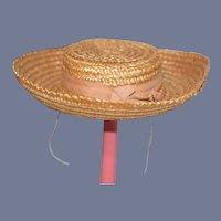 Old Woven Straw Doll Sun Hat Bonnet