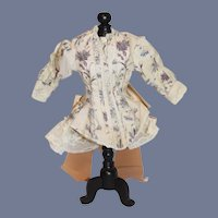 Beautiful Purple and Blue Flower Long Sleeved Doll Jacket W/ Fancy Bow Lace Trim Fashion Doll