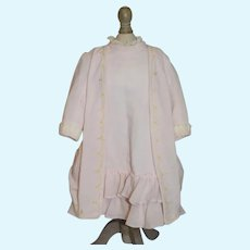 Vintage Doll Beautiful Light Pink Ruffle Long Sleeved Dress W/ Drop Waist Faux Jacket French Market