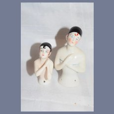 Wonderful Old Pierrot Half Doll Set China