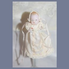 Old All Bisque Miniature Baby Doll Holding Baby Bottle Dollhouse German