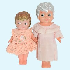 Old Celluloid Doll Set Sisters Sweet