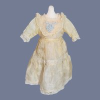 Wonderful Old Silk Dress W/ Embroidery & Lace Detail Petite Doll  French Market