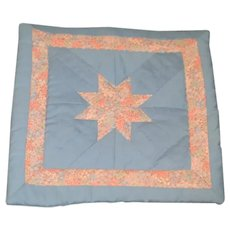 Sweet Hand Made Doll Quilt W/ Star Beautiful Blue and Pink Flower