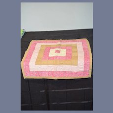 Beautiful Brown, Pink, And White Flower Doll Quilt