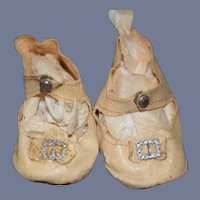Old Oil Cloth Doll Shoes W/ Fancy Buckles
