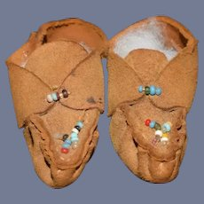 Old Doll Leather Pair Of Beautiful Brown Doll Moccasins