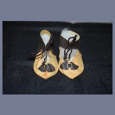 Old Oil Cloth Doll Shoes W/ Bows Doll Shoes