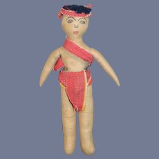 Old Unusual Cloth Doll Sewn on Features Wonderful