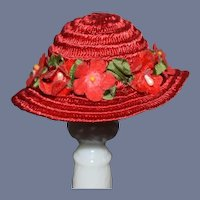Vintage Beautiful Red Flower Miniature Straw Doll Bonnet Hat