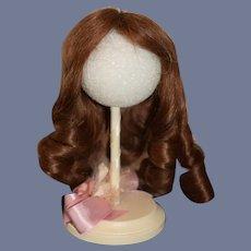 Beautiful Vintage Human Hair  Brown Hair Doll Wig W/ Loose Curls
