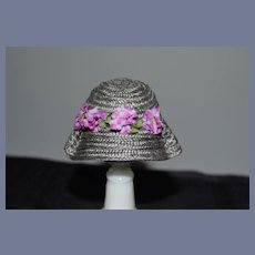 Sweet Vintage Artist Doll Miniature Doll Sun Hat With Purple Flowers Bonnet