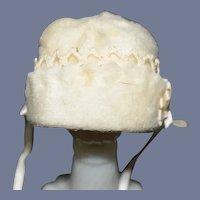 Sweet Petite Adorable White Cotton Miniature Doll Bonnet