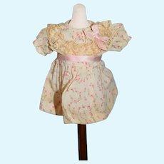 Sweet Cotton Petite Miniature Pink Flowers Doll Dress