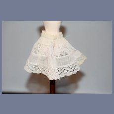 Old Doll Slip Undergarment Miniature White Lace Doll Skirt