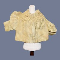 Antique Doll Cream Silk Long Sleeved Blouse With Blue Stripes Petite Doll