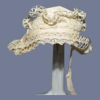 Old Miniature White Lace Doll Bonnet