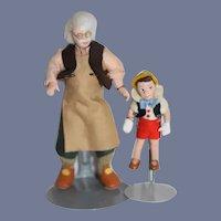 Vintage Petite Set Pinocchio & Geppetto Miniature Wonderful Dollhouse Set