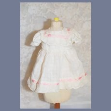 Wonderful White Cotton Pink Threaded Lace Doll Dress Vintage