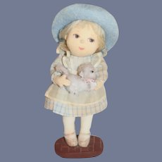 Vintage Character Juliet Lawson Artist Cloth Doll Holding Cat