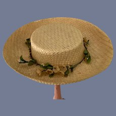 Beautiful Cream Colored Straw Sun Hat for Doll