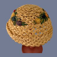 Sweet Straw Doll Bonnet Hat W/ Flowers