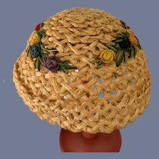 Sweet Straw Doll Bonnet Hat W/ Flowers