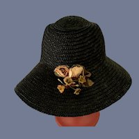 Black Straw Doll Bonnet Hat W/ Flowers