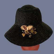 Black Straw Doll Bonnet Hat W/ Flowers