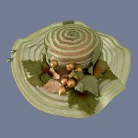 Fancy Doll Bonnet Hat W/ Fruit and Ribbon