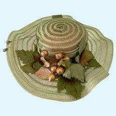 Fancy Doll Bonnet Hat W/ Fruit and Ribbon