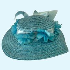 Beautiful Sky Blue Flower Straw Bonnet Hat W/ Fancy Bow