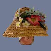 Colorful Flower Decorated Straw Doll Bonnet with Wide Brim