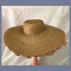 Sweet Straw Wide Brim Chiffon Ruffle Doll Hat Bonnet