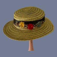 Sweet Doll Straw Hat W/ Flowers and Ribbon Bonnet
