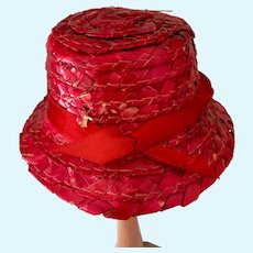 Dark Red Straw Hat with Red Ribbon