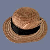 Light Brown Straw Sun Hat with Black Ribbon