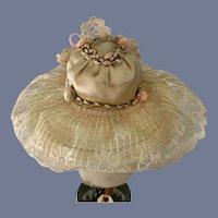 Sweet Petite Doll Bonnet Hat Wide Brim Lace Flowers
