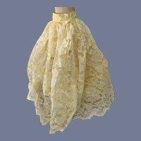 Beautiful Yellow and White Lace Overlay Skirt Fashion Doll