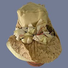 Beautiful Light Green Lace and Flowers  Doll Hat or Bonnet With White Flowers High Brim