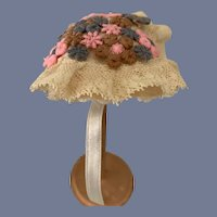 Petite Doll Hat Bonnet Topper W/ Lace Flowers