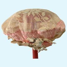 Old Doll Bonnet Lace Fancy W/ Flowers