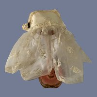 Vintage Satin & Lace Doll Topper Hat Bonnet W/ Lace Veil