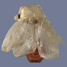 Vintage Satin & Lace Doll Topper Hat Bonnet W/ Lace Veil