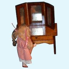 Old Miniature Doll Vanity W/ Mirror Dollhouse Wood