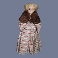 Little Wood Doll with French Bisque Head and Open Glass Eyes