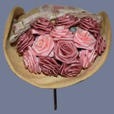Beautiful Pink Roses Hat Doll